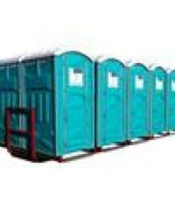 10 Toiletter på containerramme L: 6m. B: 2,5m. H: 2,5m