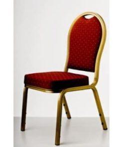 guld banquetstol med rødt sæde og ryg