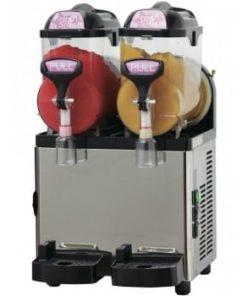 stor slushice maskine med gul og rød slushice i to rum