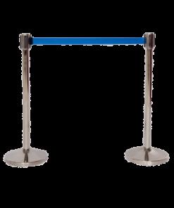 Afspærringsstander Lufthavn krom/blå 2m