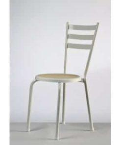 hvid wiener stol med beige flettet sæde