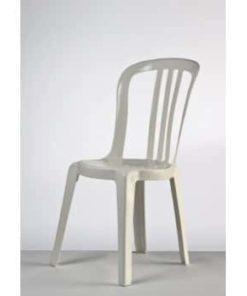 hvid havestol i plast med høj svungen ryg