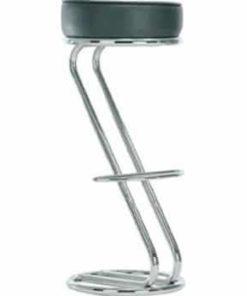 s-formet barstol i krom med sort rundt sæde
