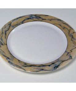 hvid dækketallerken med maleret fane