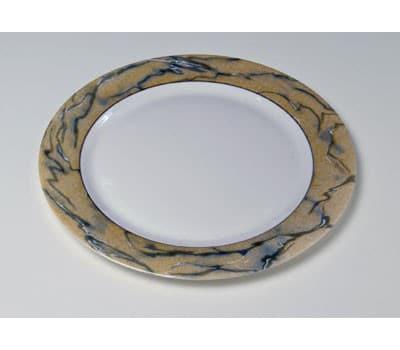 Dækketallerken, hvid m. maleret fane (31 cm) 10 stk BRUGT 3
