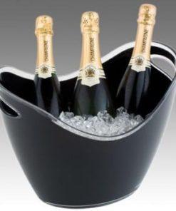 Champagnekøler i sort acryl, til 3 flasker