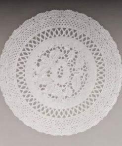 Kagepapir 19cm rund udstanset hvid - mellemlægsserviet